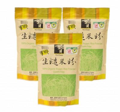 《銀川》有機生糙米粉 3包組(600g/包)~專業工法研磨成粉【無麥麩】