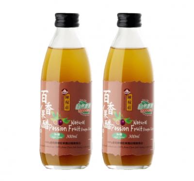 【陳稼莊】百香果醋(加糖)-即飲式(300ml/瓶)/2瓶組