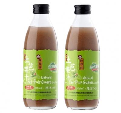 【陳稼莊】紅心土芭樂汁(無糖)-即飲式(300ml/瓶)/2瓶組